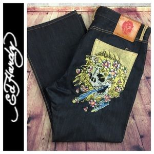☮️EUC ED Hardy Skull encrusted Relaxed jean 42